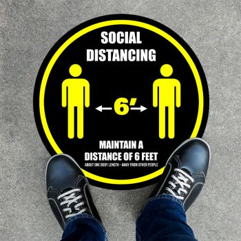 Distance Of 6ft Round Social Distancing Stickers